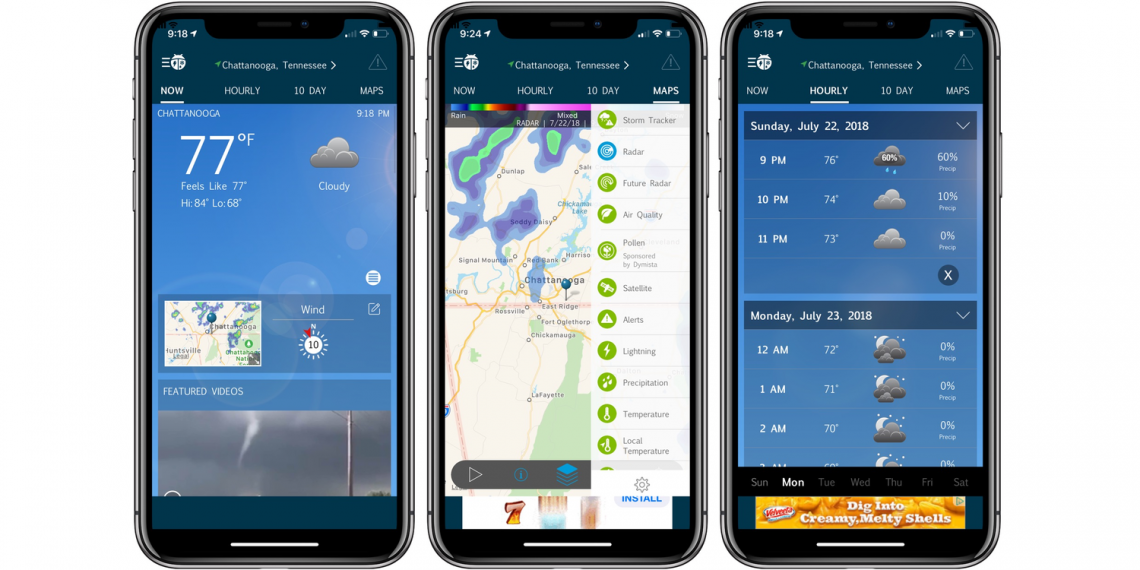 Weather Bug screens