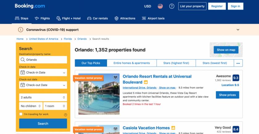 booking com screen