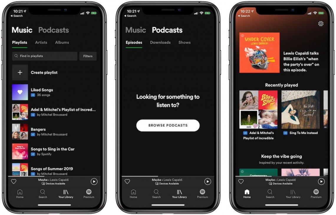 spotify app screens